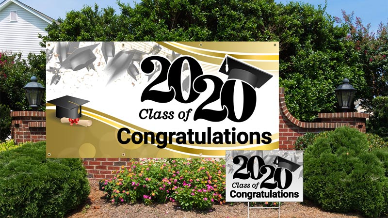 photo illustration Discounted Banners & Yard Signs for Graduates