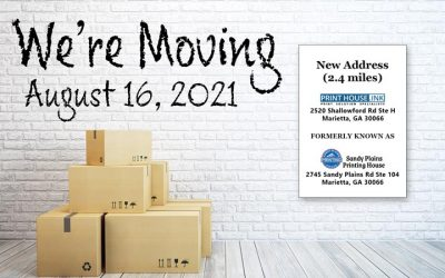Sandy Plains Printing is Moving, August 16, 2021