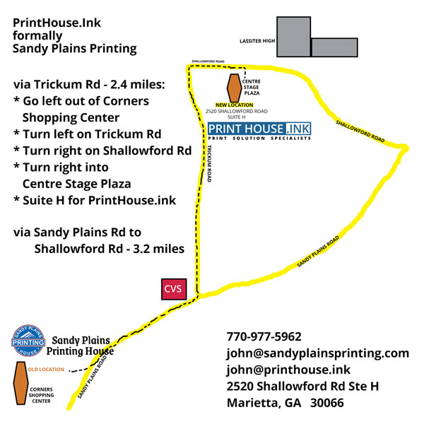 map from Sandy Plains Printing to PrintHouse.Ink